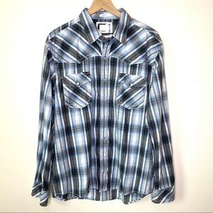 BKE Pearl Snap Western Plaid Shirt Size XL